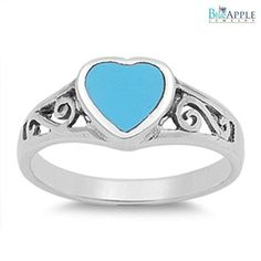 Turquoise Heart Fashion Ring Solid 925 Sterling Silver Synthetic Blue Turquoise Infinity Ring Fashion Engagement Anniversary Ring