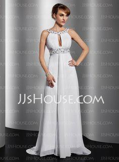Evening Dresses - $156.49 - A-Line/Princess Scoop Neck Chapel Train Chiffon Evening Dress With Ruffle Beading (017014814) http://jjshouse.com/A-Line-Princess-Scoop-Neck-Chapel-Train-Chiffon-Evening-Dress-With-Ruffle-Beading-017014814-g14814