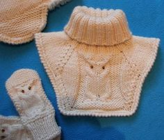 owl knit pattern dickey cowl and matching owl mittens Knitting For Kids, Crochet For Kids, Baby Knitting, Knit Crochet, Baby Nest, Baby Sweaters, Baby Booties, Knit Patterns, Mittens