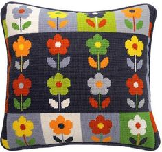 Bloom Pah Pah is a Jolly Red needlepoint pillow kit featuring a contemporary floral design with a navy, ecru and grey background which really makes the flowers pop. It is a companion to the popular Ba Ba Bloom, Ba Ba Bird and the new Ditsy Daisies Pah Needlepoint Pillows, Needlepoint Designs, Needlepoint Stitches, Needlepoint Kits, Needlepoint Canvases, Tapestry Kits, Plastic Canvas Tissue Boxes, Plastic Canvas Patterns, Tejidos