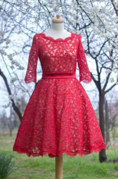 Formal Dresses, Wedding Dresses, Dresses With Sleeves, Hair Styles, Long Sleeve, Red, Vintage, Outfits, Inspiration