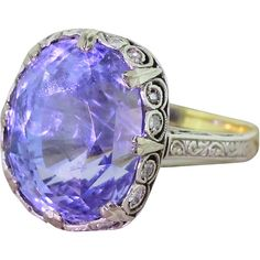 Pre-owned Edwardian 15.79 Carat Natural Ceylon Sapphire Gold Platinum... ($36,781) ❤ liked on Polyvore featuring jewelry, rings, cocktail rings, claw ring, heart shaped rings, platinum ring and gold cocktail ring