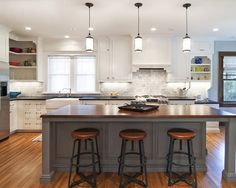 Stained Wooden Island Using Brown Oak Wood Butcher Block Top, Appealing Pendant Lights For Kitchen Islands: Furniture, Kitchen Grey Kitchen Island, Kitchen Island With Seating, Kitchen Island Lighting, Kitchen Pendant Lighting, Pendant Lights, Kitchen Islands, Island Table, Pendant Lamps, Gray Island