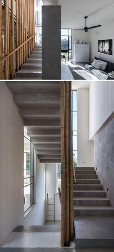 Bamboo lines the concrete stairs that lead you to the upper floor of this home.
