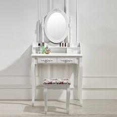 Kaptafel set met kruk, Emmy  - Inspiratie / ideeën voor in huis.  - Kaptafel set / Make up tafel set - Met kruk en bijpassende spiegel  - Victoriaanse stijl  - Ruimte om je make-up, sieraden en meer op te bergen