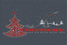 #Weihnachtskarte mit #Weihnachtsbaum grau/rot und filigraner Laserstanzung