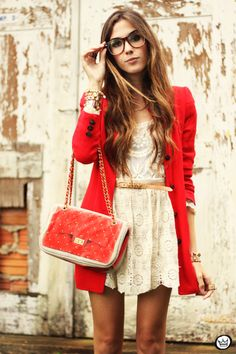 FashionCoolture 14.03.2013 look du jour lace goodnight macaroon red coat glasses blogger outfit fashion (2)