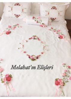Ribbon Embroidery Tutorial, Silk Ribbon Embroidery, Hand Embroidery, Bed Sheet Sets, Bed Sheets, Linen Bedding, Bedding Sets, Ribbon Work, Holidays And Events