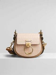 Chloé - Small Tess Bag In Embossed Croco Effect On Calfskin Luxury Bags, Messing, Leather Craft, Purses And Handbags, Fashion Bags, Dust Bag, Chloe, Pink, Shoulder Bag