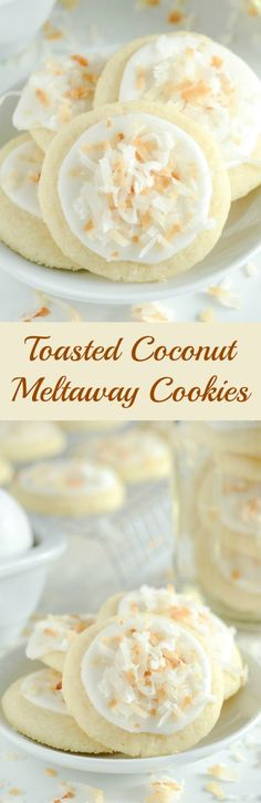 Food Recipes On Food Recipes On The Truth About Cholesterol Https T Co Pabsftvhxb Coconut Meltaway Cookies A Soft Coconut Shortbread Cookie Topped With Royal Icing And Toasted Coconut No Bake Cookies, Cookies Et Biscuits, Yummy Cookies, Yummy Treats, Sweet Treats, Cookies Soft, Coconut Cookies, Shortbread Cookies, Köstliche Desserts