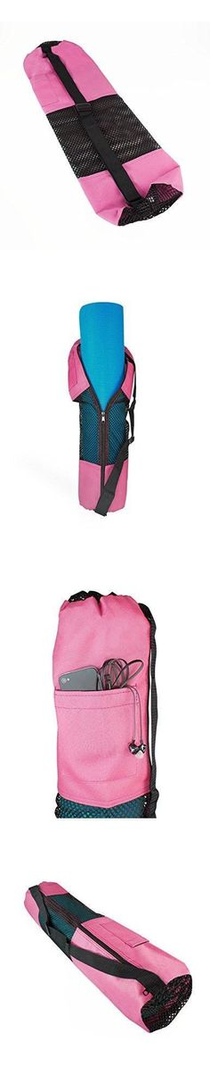 "27"" X 7"" Canvas Yoga Mat Bag With Mesh Center, Pink #yogamatbags"