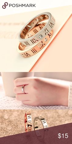 Designer Inspired Jewelry Ring FREE SHIPPING Cute ring detailed with roman numeral emblem and clear jewel stone. I have Rose Gold and Sterling Silver in sizes 5 and 6 each. Each ring is brand new and comes with jewelry box! Tiffany&Co. for exposure only! FREE SHIPPING!! Tiffany & Co. Jewelry Rings