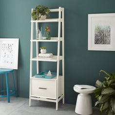 Mid-Century Bookshelf - Narrow Tower | West Elm This would look perfect in our office