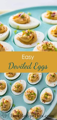Best deviled eggs recipe that's easy and delicious. This quick deviled egg recipe is great for brunch, Easter Sunday and best Easter deviled egg recipe Healthy Deviled Eggs, Easter Deviled Eggs, Guacamole Deviled Eggs, Devilled Eggs Recipe Best, Best Deviled Eggs, Deviled Eggs Recipe, Simply Recipes, Egg Recipes, Party Recipes