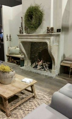 Fireplace in dining room! Fireplace in dining room! French Country Fireplace, French Country Farmhouse, French Country Decorating, Farmhouse Fireplace, Fireplace Mantle, Fireplace Design, Stone Mantle, Fireplace Ideas, Home And Living
