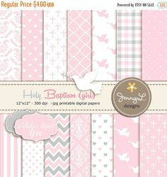 SALE Girl Baptism Digital Papers, First Communion Digital Scrapbooking Paper, Christening Digital Paper, Girl Baptismal, Dedication, Holy Sp         September 04, 2015 at 08:26PM