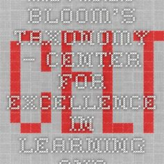 Revised Bloom's Taxonomy – Center for Excellence in Learning and Teaching