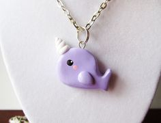Pastel Purple Narwhal Necklace Polymer Clay Charm by MadAristocrat, $12.00