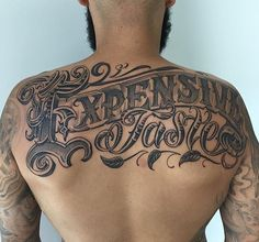 Back Tattoo : Lettering Tattoo Design With Lettering Typography Chicano Style On…