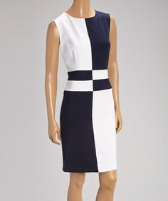 Navy & White Color Block Sleeveless Dress by Donna Rae #zulily #zulilyfinds