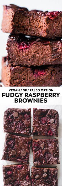 Fruity and EXTRA fudgy berry-studded brownies. These easy raspberry blender brownies taste like (healthier) chocolate heaven! #vegan #chocolate #glutenfree #dessert #paleo #raspberry