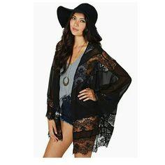 1 day sale. Black lace boho kimono. Sexy black lace boho kimono. Price is firm unless bundled. Tops