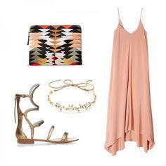 Silk Handkerchief-Hem Dress, Tibi $595 Summer Safari Clutch, Lizzie Fortunato $45 Isla Gladiator, Dannijo $275