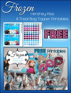 Free Frozen Valentine's Day Printables TreatBagToppers and Hershey Kiss Sticker Labels