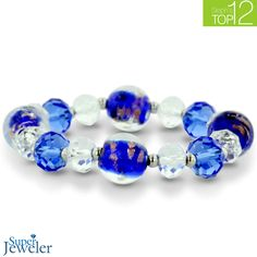 Blue Murano Glass and Crystal Bead Bracelet - $19.99