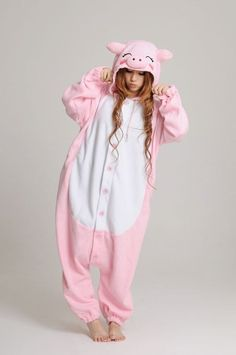 KIGURUMI Animal Pajamas Pyjamas Onesie Adult / Kid SLOTH-pink pig. $49.99, via Etsy.