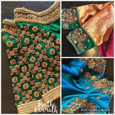Stunning designer blouse with floral design hand embroidery gold thread bead and zardosi work. Hand Work Blouse Design, Simple Blouse Designs, Stylish Blouse Design, Wedding Saree Blouse Designs, Pattu Saree Blouse Designs, Zardosi Work Blouse, Maggam Work Designs, Designer Blouse Patterns, Blouse Models