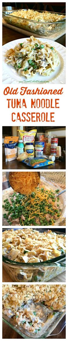 OLD FASHIONED TUNA NOODLE CASSEROLE - Simple to make, so good! Easy to adapt to your taste! Old School comfort food at its best! Egg noddles in a delicious creamy mushroom soup sauce tossed with tuna, sauteed onions, peas and cheddar cheese, topped with Tuna Recipes, New Recipes, Dinner Recipes, Cooking Recipes, Favorite Recipes, Hamburger Recipes, Potato Recipes, Hamburger Hotdish, Chicken Recipes