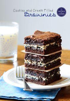 Cookies and Cream Filled Brownies #brownies #chocolate