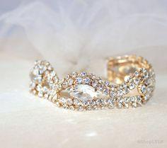 Crystal Tulle Bracelet / Bridal Cuff Bracelet / by ShopLYLM
