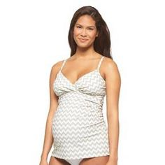 Maternity Tankini Top Gray/White -Liz Lange® for Target®