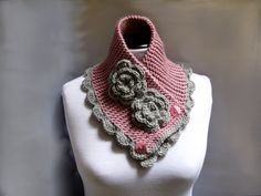Hand knit crochet neckwarmer scarf chunky cowl in blush pink and gray color with flowers. Scarf is knitted of soft acrylic yarn and finished with crochet flower. Short Scarves, Pink Scarves, Crochet Scarves, Crochet Shawl, Knit Crochet, Crocheted Scarf, Scarf Knit, Loom Knitting, Hand Knitting
