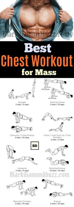 Chest Workout Routine for Mass - 10 Best Chest Workout for Men at Home. These chest exercise it will help you to get a bigger and perky chest. It is most men's dream to have a powerful looking upper body. It is common to hear questions like Best Chest Workout Routine, Chest Workout For Mass, Arm Workout Men, Chest Workout At Home, Workout Plan For Men, Chest Routine, Exercise For Chest, Chest And Tricep Workout, Mens Workout At Home