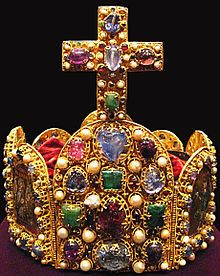 950 - 1050 Imperial Crown of the Holy Roman Empire (German). Gold, Enamel, pearls (144), gems (144), hinged. Octagonal