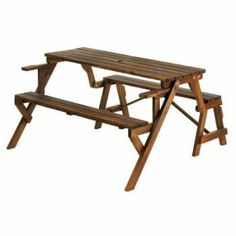 """Garden spaces big and small get double the delight from this two-in-one furnishing! When folded into a park bench, it invites a cozy intimate chat; when hosting a gathering, it quickly becomes a roomy picnic bench with plenty of room for guests.   Weight 38 lbs. Picnic table: 55"""" x 53 3/4"""" x 29..."""