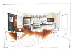 little chef a couple of concept sketches for an in house coffee station located in the small areas they used to lease to burger king