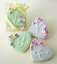 Floral Cake and Heart cookies