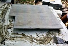 How to install beautiful stamped concrete tiles for the look of stamped concrete for a fraction of the cost! Diy Stamped Concrete, Concrete Molds, Cement Stamps, Covered Patios, Stained Concrete, Bougainvillea, Driveways, Diy Molding, Old Wood