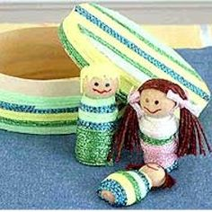 Kids can create a family of wood worry dolls with heavy braid and a matching box for their home. Worry dolls are traditionally made in Guatemala