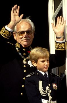 Prince Rainier with grandson Andrea Casiraghi during the National Day in Monaco city on19 Nov 1993