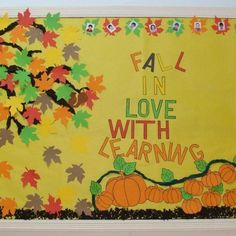 The best bulletin board ideas are the ones that, with only minimal alterations, can be used to complement several different units, seasons, or themes. This fall bulletin board idea from Renée. September Bulletin Boards, Elementary Bulletin Boards, Bulletin Board Paper, Preschool Bulletin Boards, Bulletin Board Display, Classroom Bulletin Boards, Classroom Decor, Bullentin Boards, Preschool Door