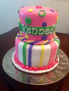 Fondant Stripes and dots cake.  Cake Kouture by Char Denver