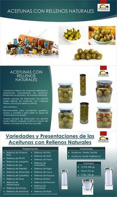 Spanish Food Prodespa: Stuffed Olives: pickles, almonds, red pepper, jala...