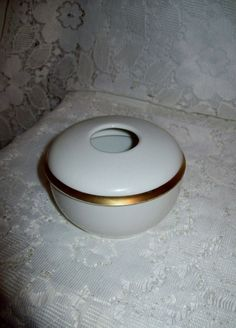 Vintage White Porcelain Hair Receiver w/ Gold Band R S Germany mark Only 9 USD by SusOriginals on Etsy