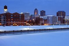 Winter lights from Downtown Des Moines.