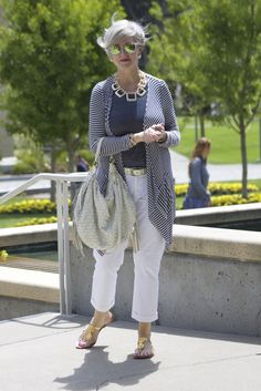 Casual Spring and Summer Outfits for 50 Year Old Woman: Street Style Outfit for Over 50 All White Spring Outfit for Women Over 50 Smart Look Comfy Attire for Cold Weather Striped Pants Blue and White Shirt Pretty Style Chic Outfit Minimalist … Plaid Outfits, Chic Outfits, Fashion Outfits, Woman Outfits, Summer Outfits, Fashion For Women Over 40, Fashion Over 50, Work Fashion, Blue And White Shirt